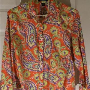 Ralph 1X Orange Paisley 3/4 Open Sleeve Btn Dwn